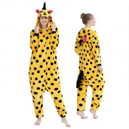 Yellow Spot Unicorn Onesie Pajamas Costumes Adult Animal Onesies Zip up
