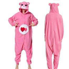 Pink Care Bear Onesie Pajamas Costumes Adult Animal Onesies Button Closure