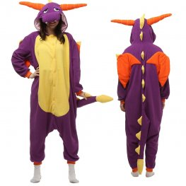Purple Dragon Onesie Pajamas for Adult Animal Onesies Cosplay Halloween Costumes