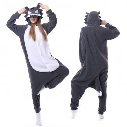 Grey Wolf Onesie Pajamas for Adult Animal Onesies Cosplay Halloween Costumes