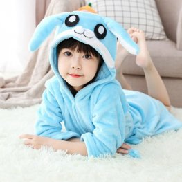 Blue Bunny Robe: Soft & Cozy Animal Hooded Bathrobe