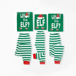 Matching Family Christmas Pajamas Elf Green Stripes