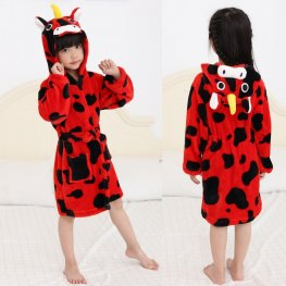 Red Unicorn Robe: Soft & Cozy Animal Hooded Bathrobe