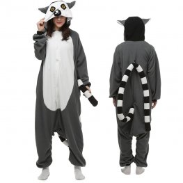 Lemur Onesie Pajamas for Adult Animal Onesies Cosplay Halloween Costumes