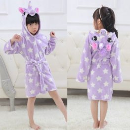 Purple Star Boys & Girls Animal Robes Hooded Bathrobe Winter Plush Soft Housecoats