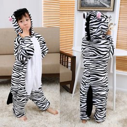 Zebra Kids Flannel Animal Onesie Pajamas