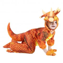 Inflatable Dinosaur Blow Up Costumes Orange Party Halloween Animal Funny Suit for Kids
