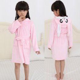 Pink Bunny Robe: Soft & Cozy Animal Hooded Bathrobe