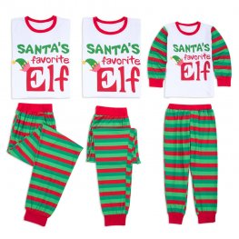 Matching Family Christmas Pajamas Elf Red & Green Stripes