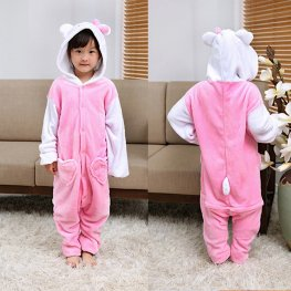 Hello Kitty Cat Kids Winter Warm Animal Onesie Pajamas