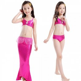 Kids Girls Mermaid Tail For Pool Swimsuits Bikini Mermaid Costume