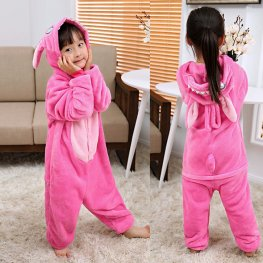 Pink Stitch Kids Flannel Animal Onesie Pajamas