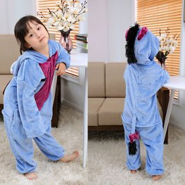 Eeyore Kids Flannel Animal Onesie Pajamas