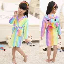 Rainbow Unicorn Robe: Soft & Cozy Animal Hooded Bathrobe