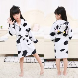Cow Boys & Girls Animal Robes Hooded Bathrobe Winter Plush Soft Housecoats