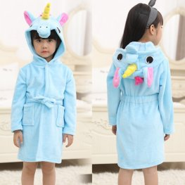 Blue Unicorn Robe: Soft & Cozy Animal Hooded Bathrobe