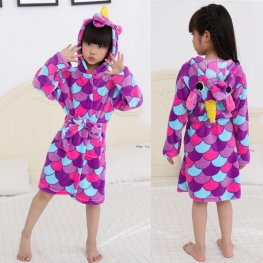 Purple Scale Unicorn Robe: Soft & Cozy Animal Hooded Bathrobe