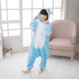 Blue Bunny Kids Flannel Animal Onesie Pajamas