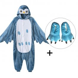 Owl Onesie Pajamas Costume for Adult & Kids with Slippers for Sale