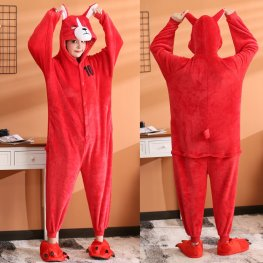 Red Dog Onesie Flannel Pajamas Animal for Adult Onesies Halloween Costumes