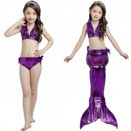 Kids Cheap Swimmable Mermaid Tails For Girls Mermaid Swimsuits Costume Bikini Set