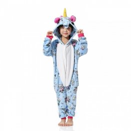Blue Unicorn Pattern Kids Flannel Animal Onesie Pajamas