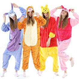 Winnie the Pooh Bear Tigger Eeyore Piglet Onesie Pajamas Halloween Costumes: Soft & Cozy Adult Animal Onesies