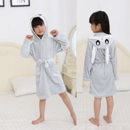 Grey Bunny Robe: Soft & Cozy Animal Hooded Bathrobe