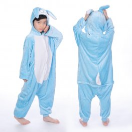 Blue Bunny Onesie Pajamas for Kids Soft & Cozy Animal Costume