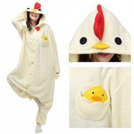 White Chicken Onesie Pajamas for Adult Animal Onesies Cosplay Halloween Costumes