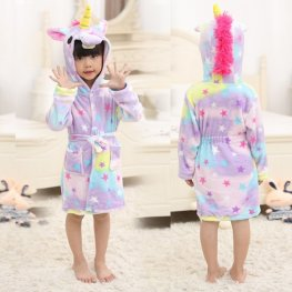 Dream Unicorn Boys & Girls Animal Robes Hooded Bathrobe Winter Plush Soft Housecoats