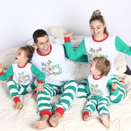 Matching Family Christmas Pajamas Lovely Deer Green Stripe
