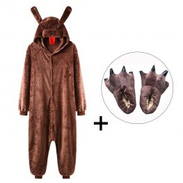 Brown Dog Onesie Pajamas Costume for Adult & Kids with Slippers for Sale