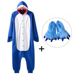Shark Onesie Pajamas Costume for Adult & Kids with Slippers for Sale