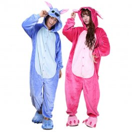 Stitch Onesie Costumes for Couples Animal Onesies Halloween Flannel Pajamas