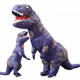 Inflatable Blow Up T Rex Dinosaur Costumes Funny Suit For Adults & Kids Purple