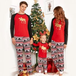 Matching Family Christmas Pajamas Golden Reindeer