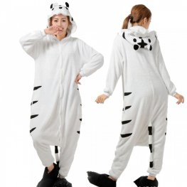 White Tiger Onesie Pajamas For Women & Men Quality Animal Costume For Sale