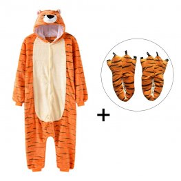 Tiger Onesie Pajamas Costume for Adult & Kids with Slippers for Sale