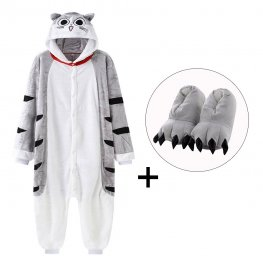 Cheese Cat Onesie Pajamas Costume for Adult & Kids with Slippers for Sale